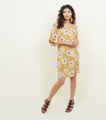 Yellow Floral Tie Sleeve Bardot Neck Dress New Look