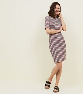 Red Stripe Ribbed 1/2 Sleeve Bodycon Dress New Look