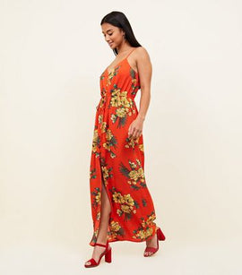 Petite Red Floral Button Front Maxi Dress New Look
