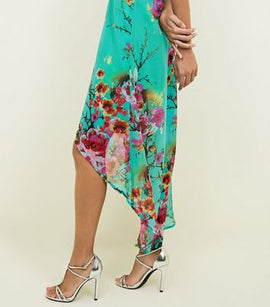 Blue Vanilla Green Floral Print Dip Hem Dress New Look