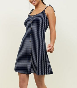Petite Navy Stripe Button Front Skater Dress New Look
