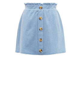 Petite Pale Blue Button Front Paperbag Skirt New Look