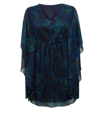 Apricot Navy Tropical Print Tie Front Kaftan New Look