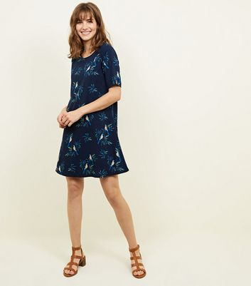 Apricot Navy Tropical Bird Print Swing Dress New Look