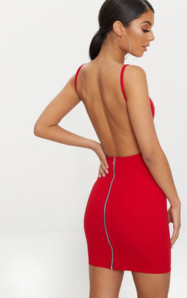Red Zip Detail Low Back Strappy Bodycon Dress- Red