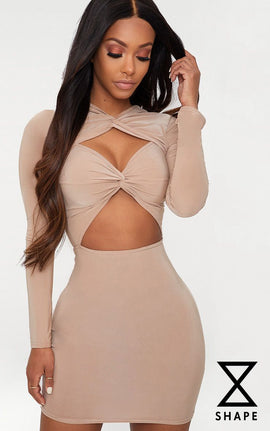 Shape Taupe Slinky Cut Out Long Sleeve Bodycon Dress- Brown