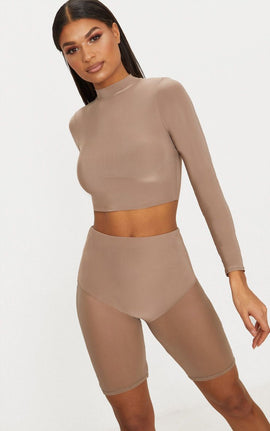 Taupe Mesh Leg Short- Brown