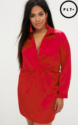 Plus Red Twist Front Silky Shirt Dress- Red