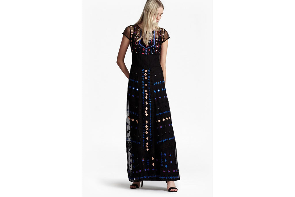 Coachella Embroidered Maxi Dress - black multi