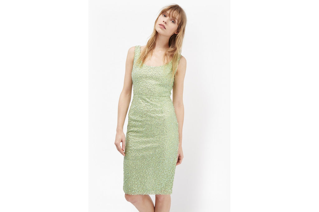 Celia Sequinned Bodycon Dress - mineral green
