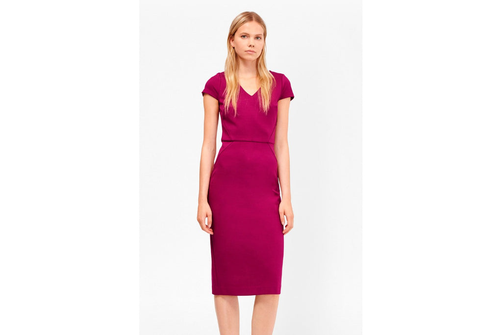 Lula Stretch Bodycon Midi Dress - dark magenta