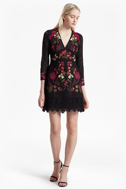 Legere Lace Floral Embroidered Dress - black