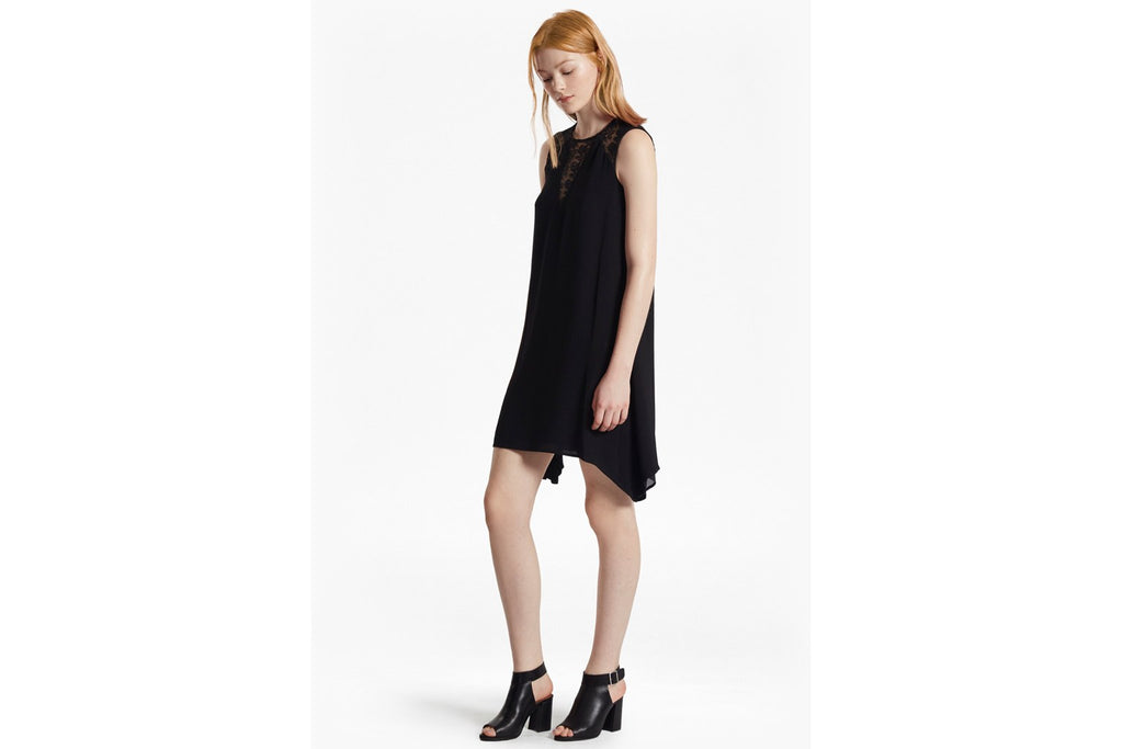 Hennessy Drape Belted Mini Dress  - black