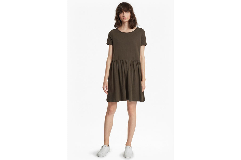 Louis Cotton Jersey Flared Dress - woodland green