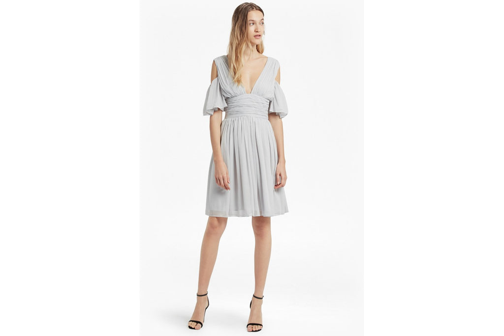 Constance Draped Cold Shoulder Dress  - freeway grey