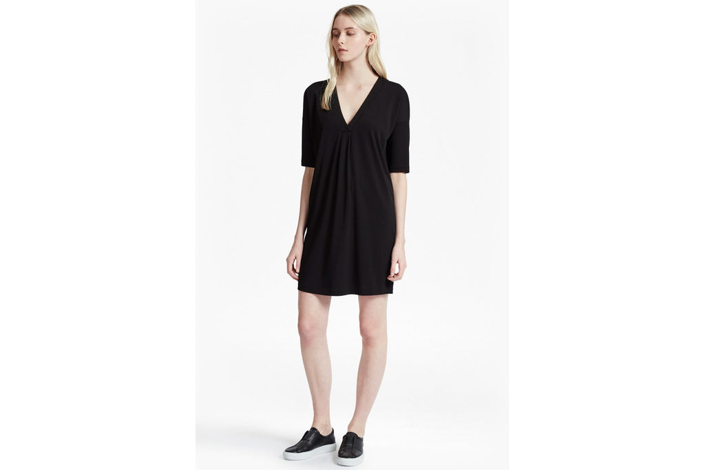 Bottero Drape V Neck Shift Dress - black