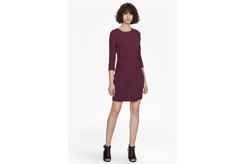 Elsa Long Sleeved Draped Jersey Dress - deepest purple
