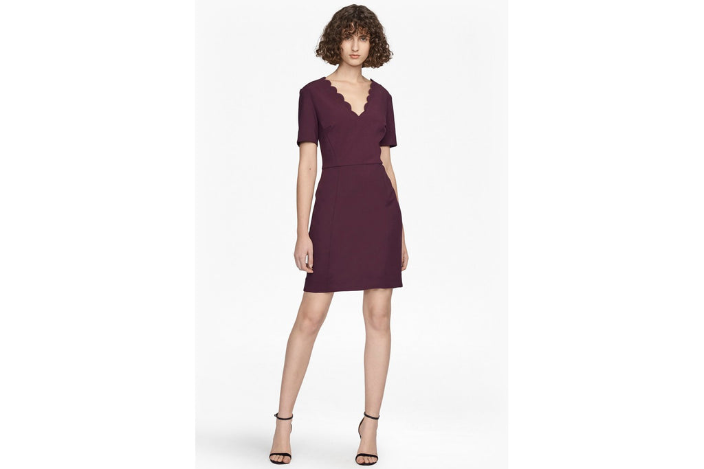 Whisper Ruth Scalloped Dress - deepest purple
