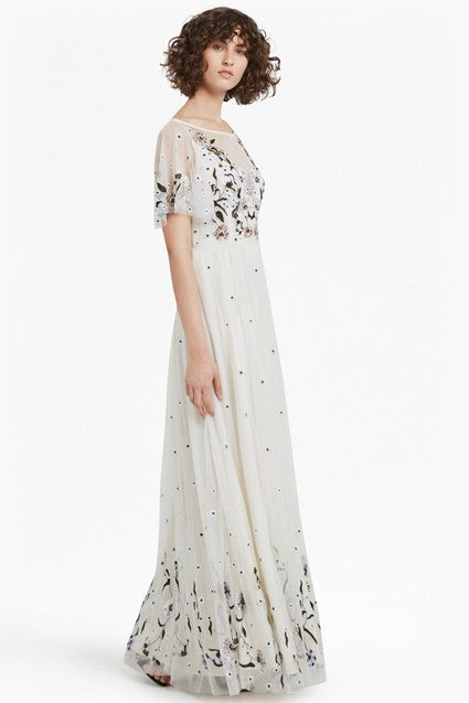 Lucille Stretch Embroidered Maxi Dress - daisy white