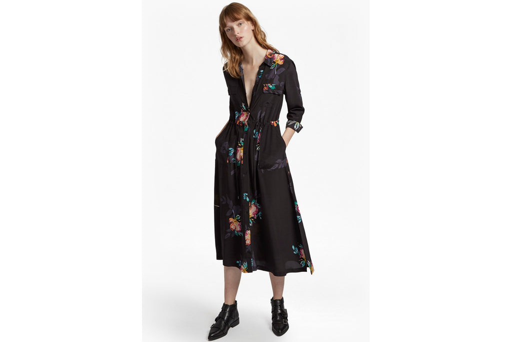 Delphine Drape Shirt Dress - black multi