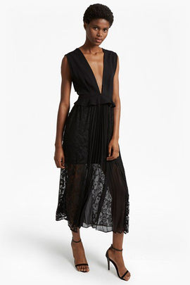 Angelina Pleated Lace and Jersey Maxi Dress - black