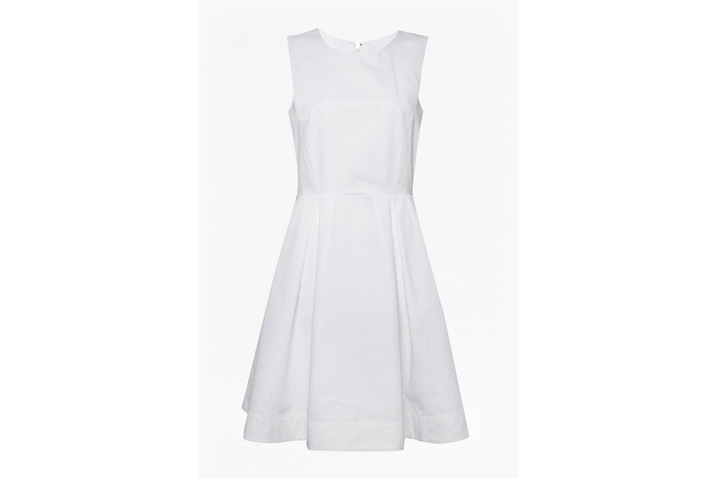 Juliet Satin Round Neck Dress - off white
