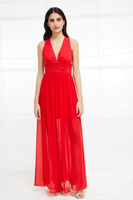 Andros Jersey Halter Maxi Dress - shanghai red