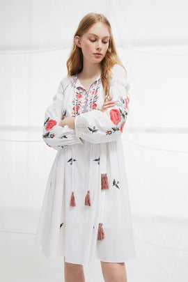 Edessa Cotton Folk Dress - summer white