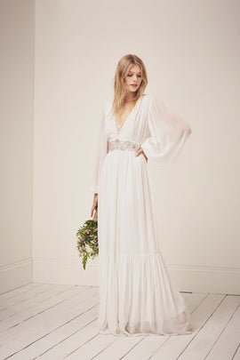 Cari Sparkle Maxi Wedding Dress - summer white