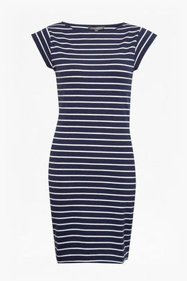 Tim Tim Stripe Dress - nocturnal/white