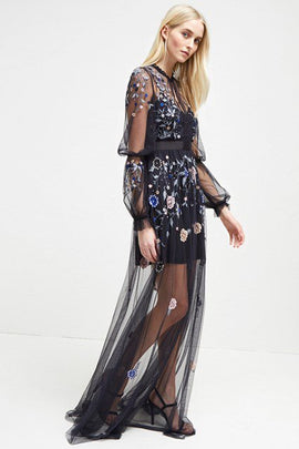 Caspia Embroidered Maxi Dress - utility blue