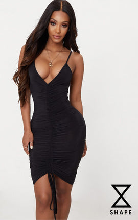 Shape Black Slinky Ruched Strappy Midi Dress- Black