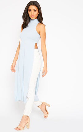 Aaralyn Powder Blue Ribbed Side Split Dress- Blue