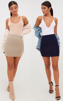 Taupe/Navy 2 Pack Jersey Mini Skirt- Brown
