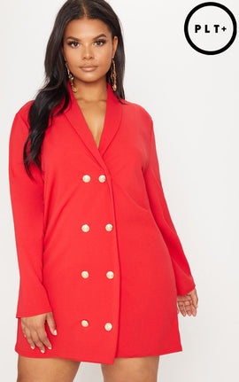 Plus Red Gold Button Oversized Blazer Dress- Red