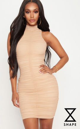 Shape Nude Mesh High Neck Ruched Bodycon Dress- Pink