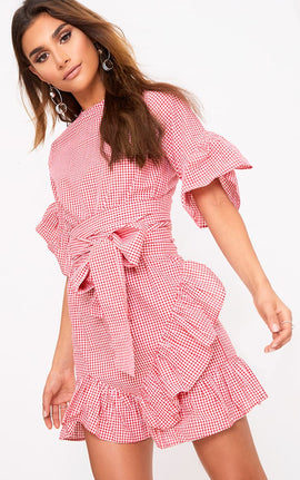 Aaliyah Red Gingham Frill Detail Mini Dress- Pink Gingham