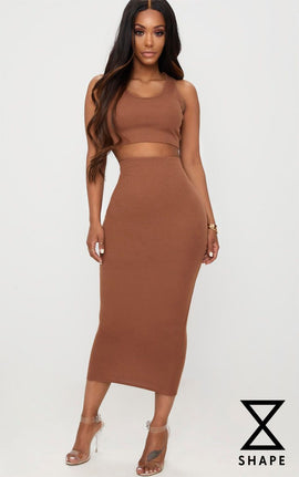 Shape Brown Ribbed Midi Skirt- Brown