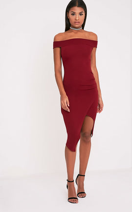 Abbey Burgundy Bardot Wrap Front Crepe Midi Dress- Red