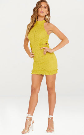 Mustard Broderie Anglaise High Neck Cut Out Detail Bodycon Dress- Yellow