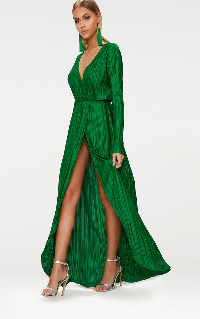 Bright Green Pleated Wrap Front Long Sleeve Maxi Dress