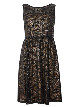 Womens Black Sequin prom dress- Black