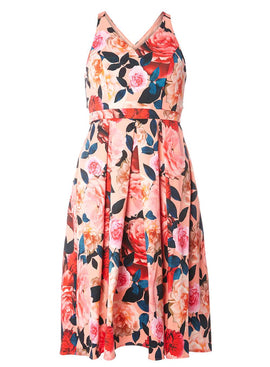 Womens Premium Blush Floral Satin Prom Dress- Blush
