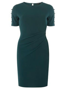 Womens Green Stud Shoulder Bodycon Dress- Green- Green