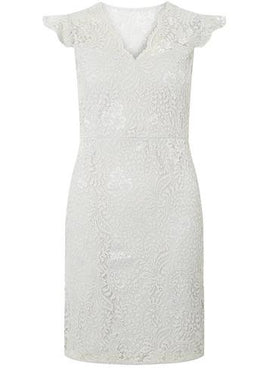 Womens Grey Stretch Lace Bodycon Dress- Grey- Grey
