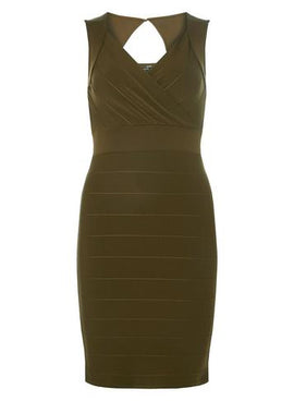 Womens Olive Sweetheart Neck Bandage Bodycon Dress- Green- Green