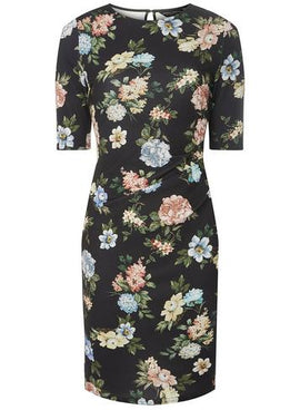 Womens Vintage Floral Print Bodycon Dress- Fl Multi- Fl Multi