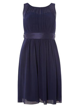 "Womens **Showcase Petite Navy ""Beth"" Prom Dress- Blue- Blue"