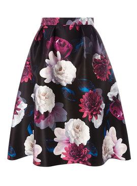 Womens **Luxe Multi Coloured Floral Print Prom Skirt- Multi Colour