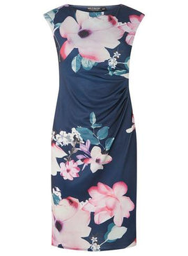 Womens **Billie & Blossom Navy Floral Bodycon Dress- Navy- Navy